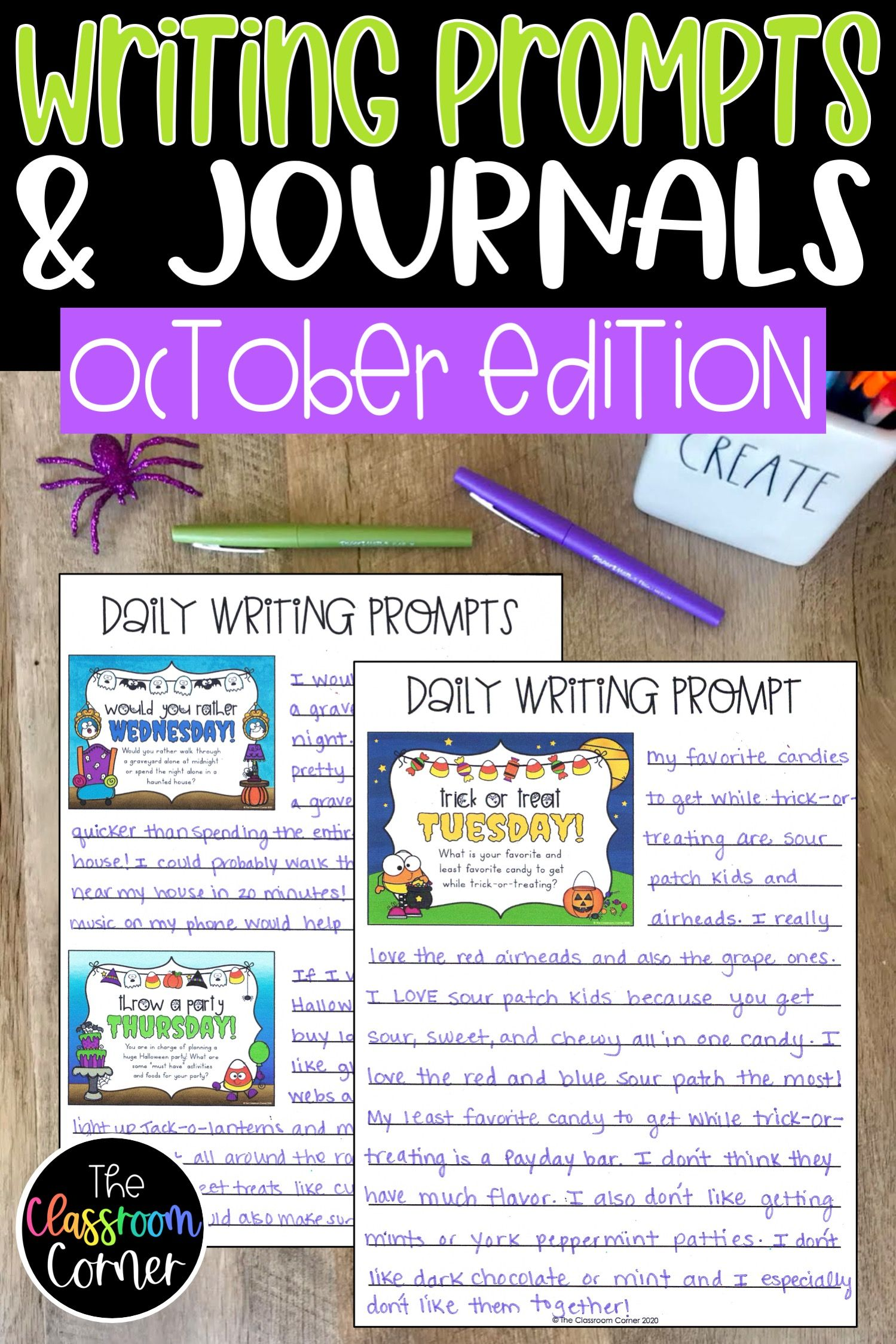 Daily Morning Writing Prompts & Journals for October
