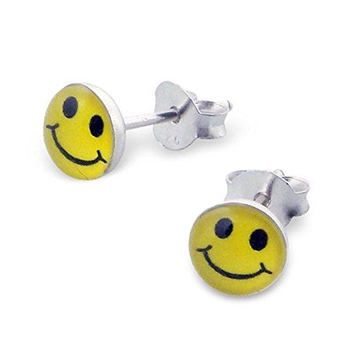 Girls Emotion Smile Colorful Ear Studs 925 Sterling Silver