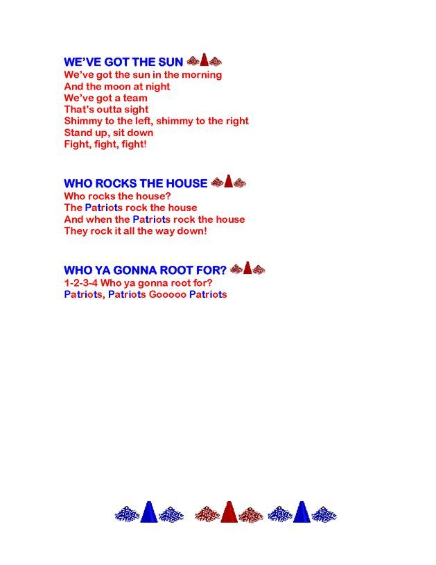 Cheers And Chants Lyrics Football Cheers Chants | Cheerleading