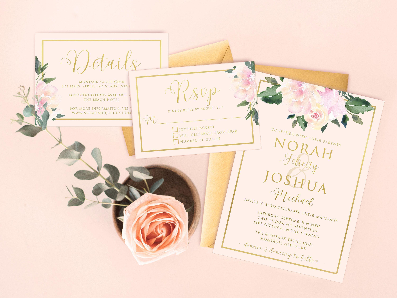 Elegant Wedding Invitation Set Printable Floral Wedding Suite