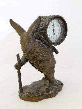 Novelty Clock : An Early 20thc Cast Bronze Clock