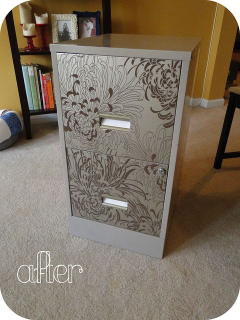 Filing cabinet with wallpaper on it! pretty!