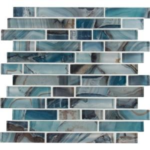 Ivy Hill Tile Marina Iridescent Aqua Brick 11 3 4 In X 11 3 4 In 8 Mm Glass Mesh Mounted Mosaic Tile Ext3rd10012 In 2020 Mosaic Tiles Glass Mosaic Tiles Mosaic Glass