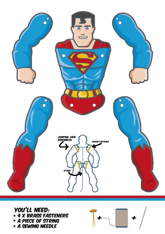 Do you want a super-powerful Superman paper puppet? Download the template by clicking the link below. Then it's just a matter of print, cut and assemble.