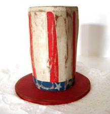 antique blue primitive in Antiques | eBay Uncle Sam's hat made from log and scrap wood brim. LOVE!!