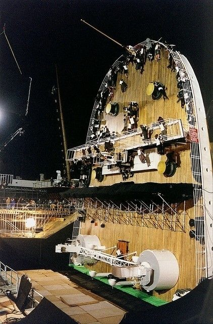 Ship And Set Equipment During Filming Of The Sinking Of Titanic Titanic Behind The Scenes Titanic Movie Titanic Photos