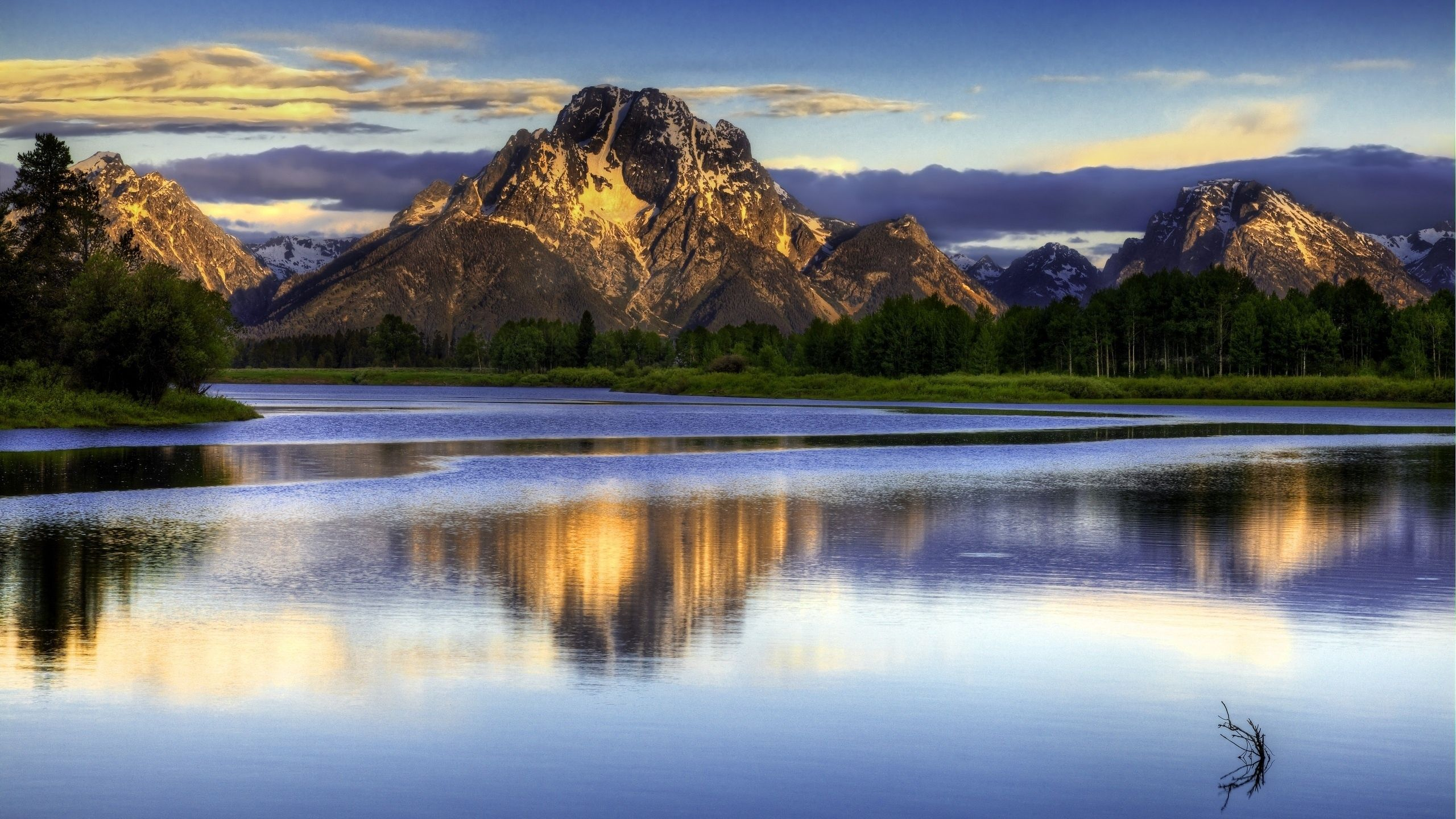 2560x1440 Wallpaper landscape, mountains, lake, surface of