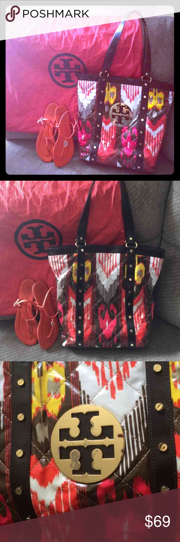 Tory Burch tote💯%authentic Beautiful Tory Burch tote preowned has some discoloration on rivets and emblem other than that in perfect condition no rips no damage Tory Burch Bags Totes