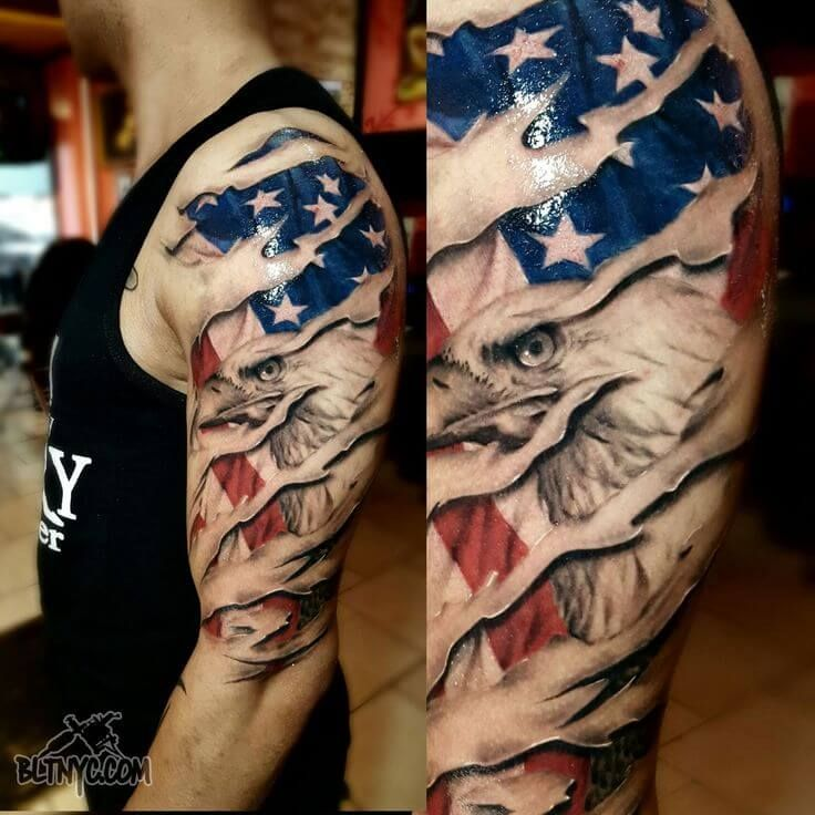 14 best bald eagle with american flag tattoo designs in