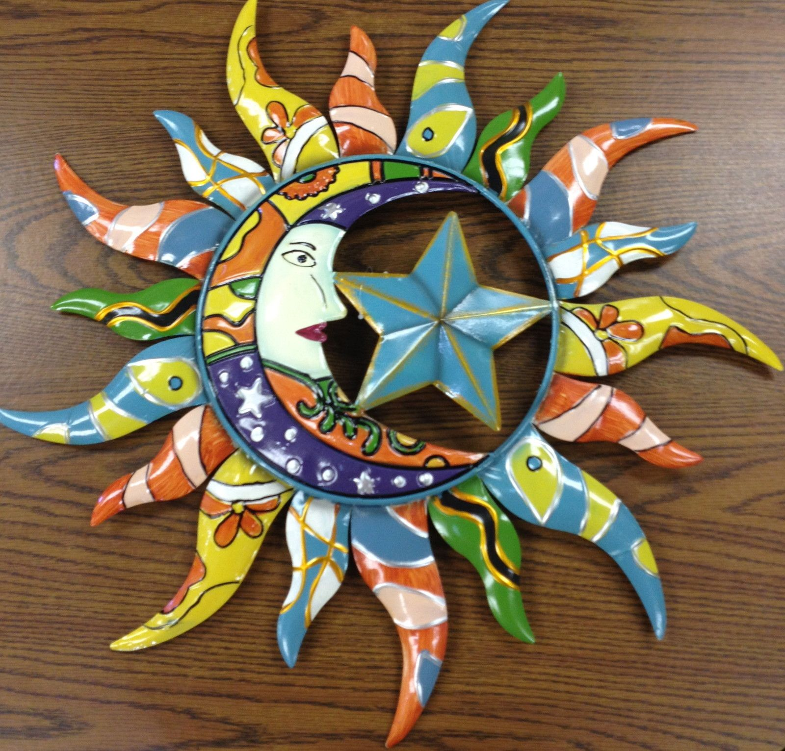 details about colorfully painted moon star sun celestial on metal wall art id=18210
