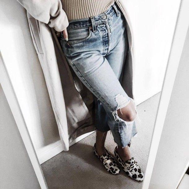 Jeans: tumblr denim blue ripped shoes gucci gucci shoes dionysus coat white coat