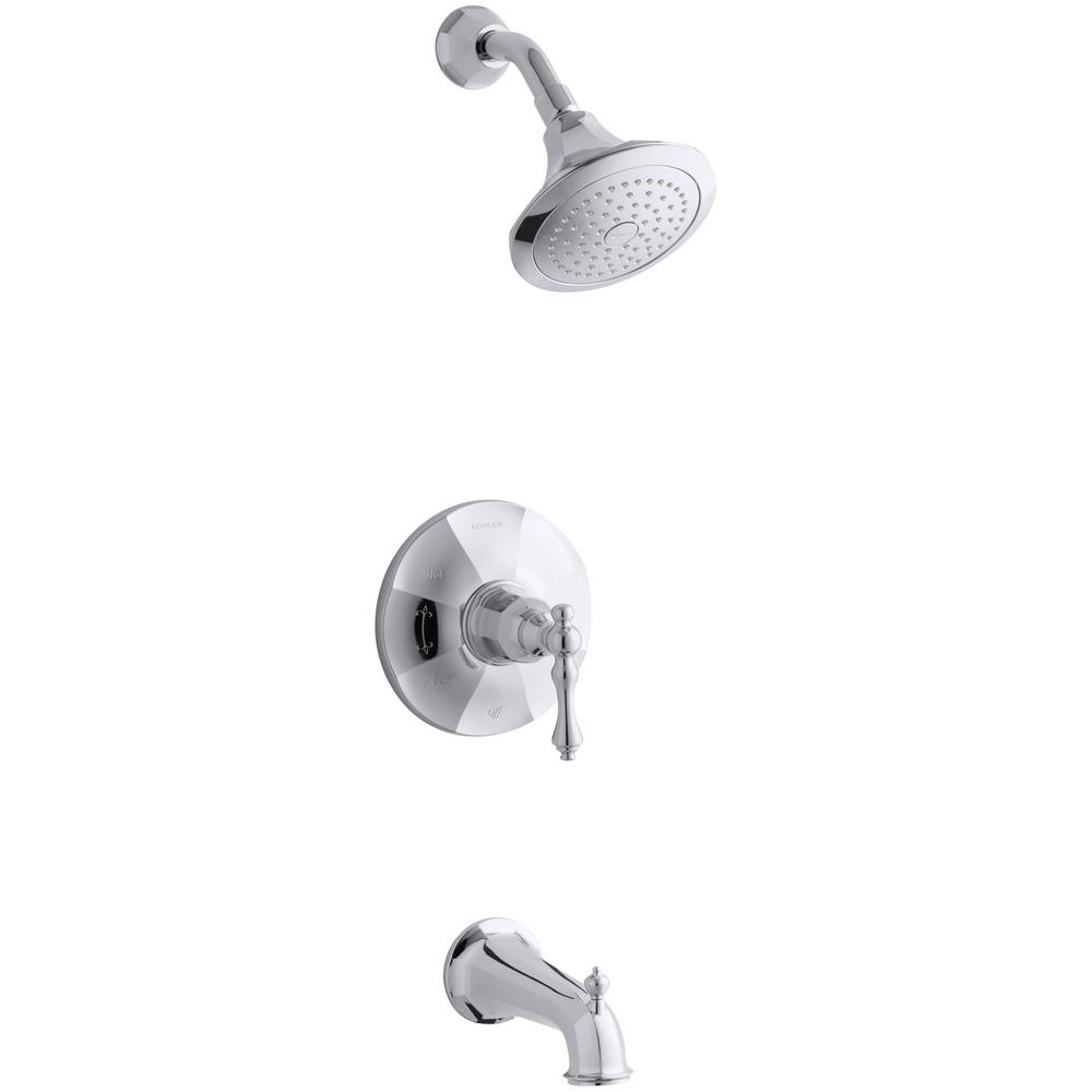 Kohler Kelston Single Handle 1 Spray 2 5 Gpm Tub And Shower Faucet With Lever Handle In Polished Chrome Shower Faucet Faucet Tub Shower Faucets