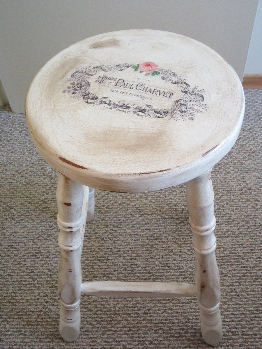 Stool With Waterslide Decal I Refinished