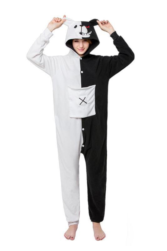 6c42ead7b8  black  white  bear With Pocket Anime  cartoonpajamas Unisex  adultsonesie