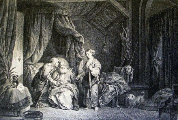 The Phillip Medhurst Picture Torah 90. Abraham and Hagar. Genesis cap 16 v 3. Rembrandt
