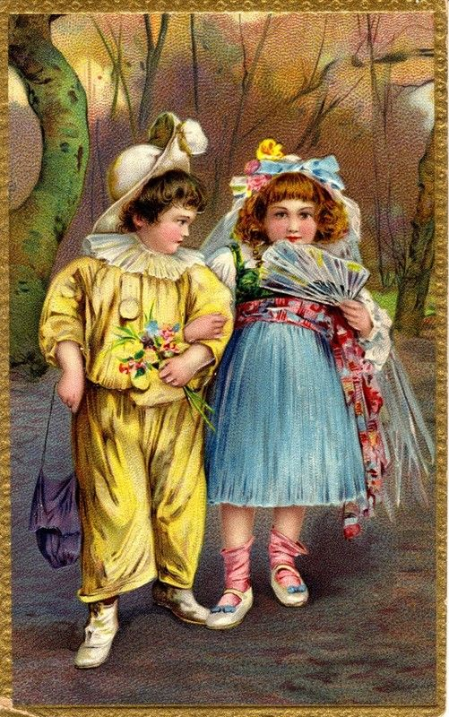 Victorian children dressed up for a party