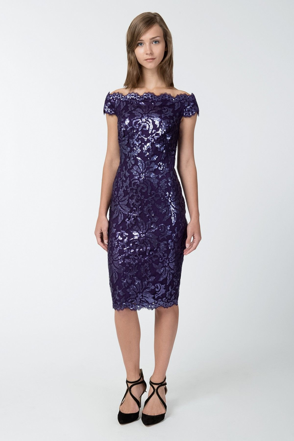 Paillette Embroidered Lace Off Shoulder Dress in Deep Amethyst ...