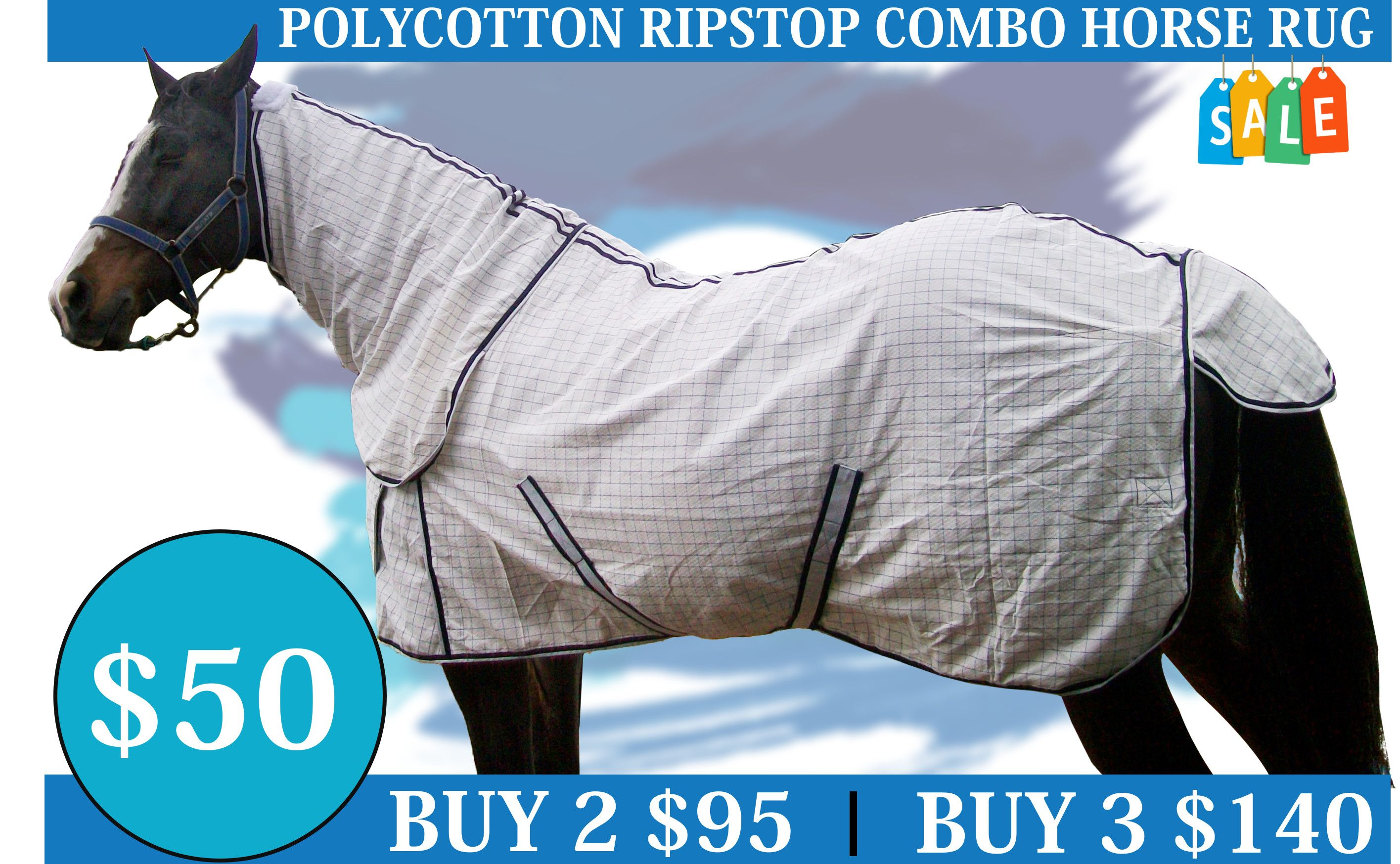 Diamond Weave Cotton Ripstop Attached Neck Combo Blue Check Horse Rug