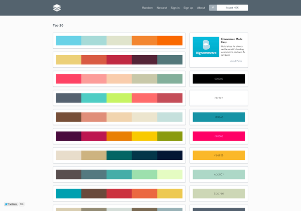 Color Palette Website Called Pltts Shows Palettes To Choose From