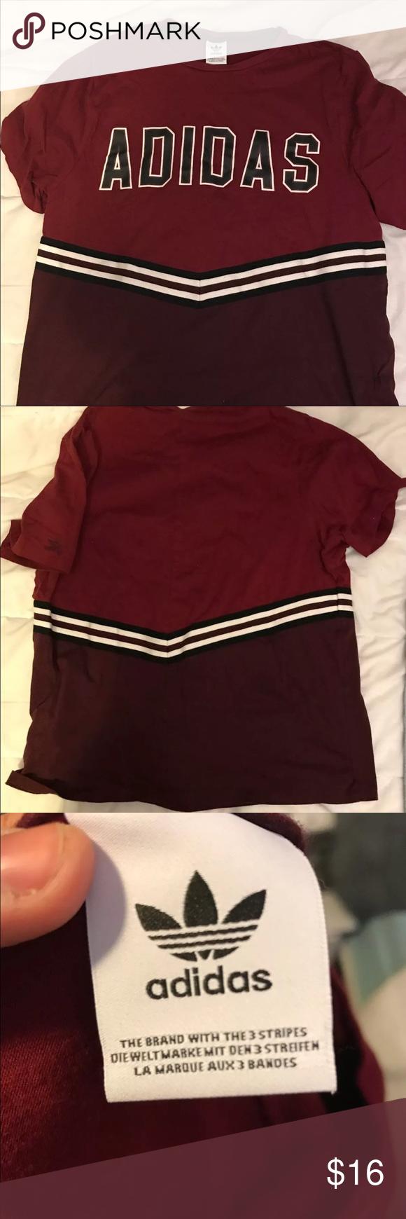 Adidas Maroon Adidas T - Shirt Pacsun, Adidas Maroon E Maniche Corte a14fa5