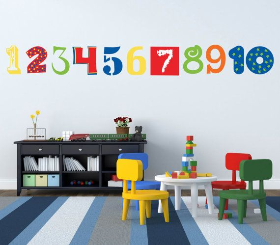 Number Wall Decals Numbers Wall Decoration Abc 123 Decals Kids Room Decals Classroom Wall Decor Kids Bedroom Walls Playroom Wall Decals