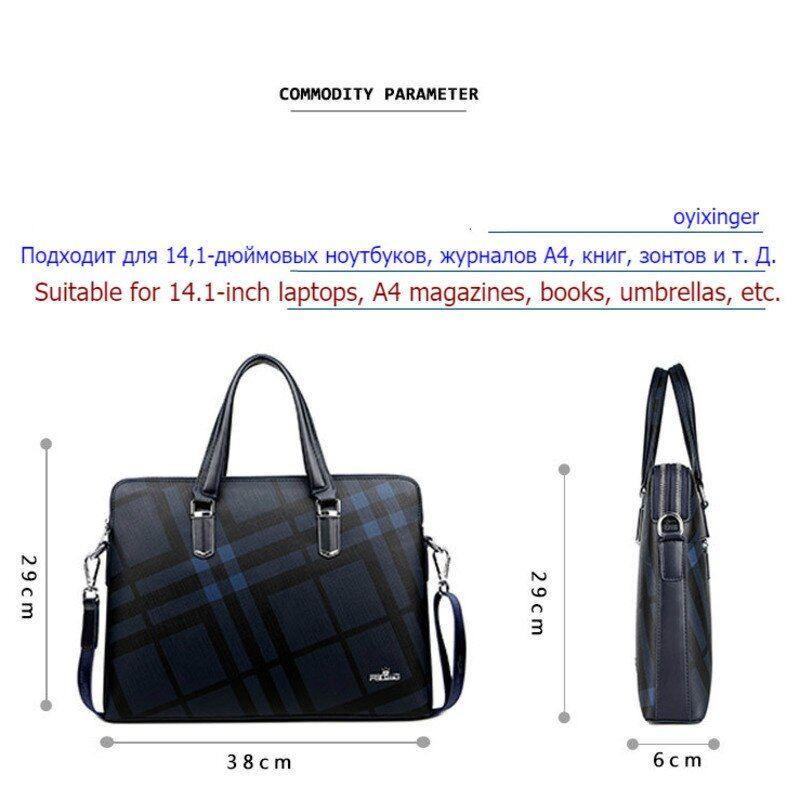 2020 New Men Top-Handle Bags Leather Men's 14-inch Laptop Bags Office Bags  For Male Handbag Briefcase Plaid Pattern Business Bag in 2020 | Man bag,  Office bag, Handbag