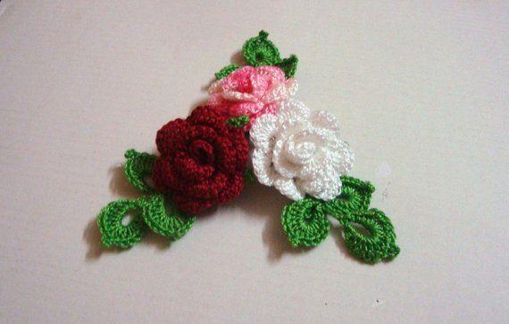 Crochet applique pattern crochet flower pattern crochet mini rose