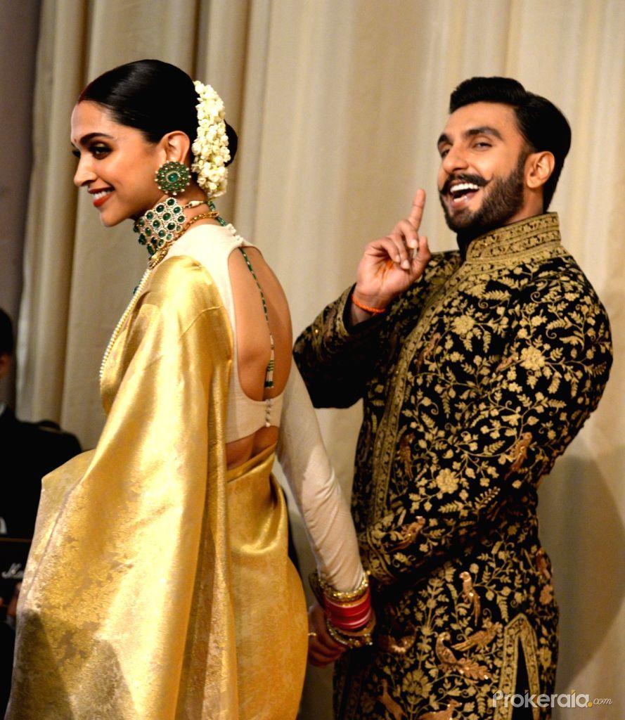 The newlywed actors Deepika Padukone and Ranveer Singh at ...