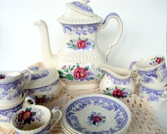 Vintage Copeland Spode Porcelain,1930s,Mayflower 16 PieceDemitasse Set,Dining  Serving,Lidded