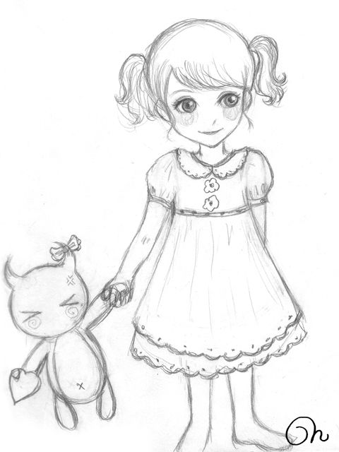 Sketch Little Girl By CQcat.deviantart.com On @deviantART | Tattoo Ideas | Pinterest | Sketches ...
