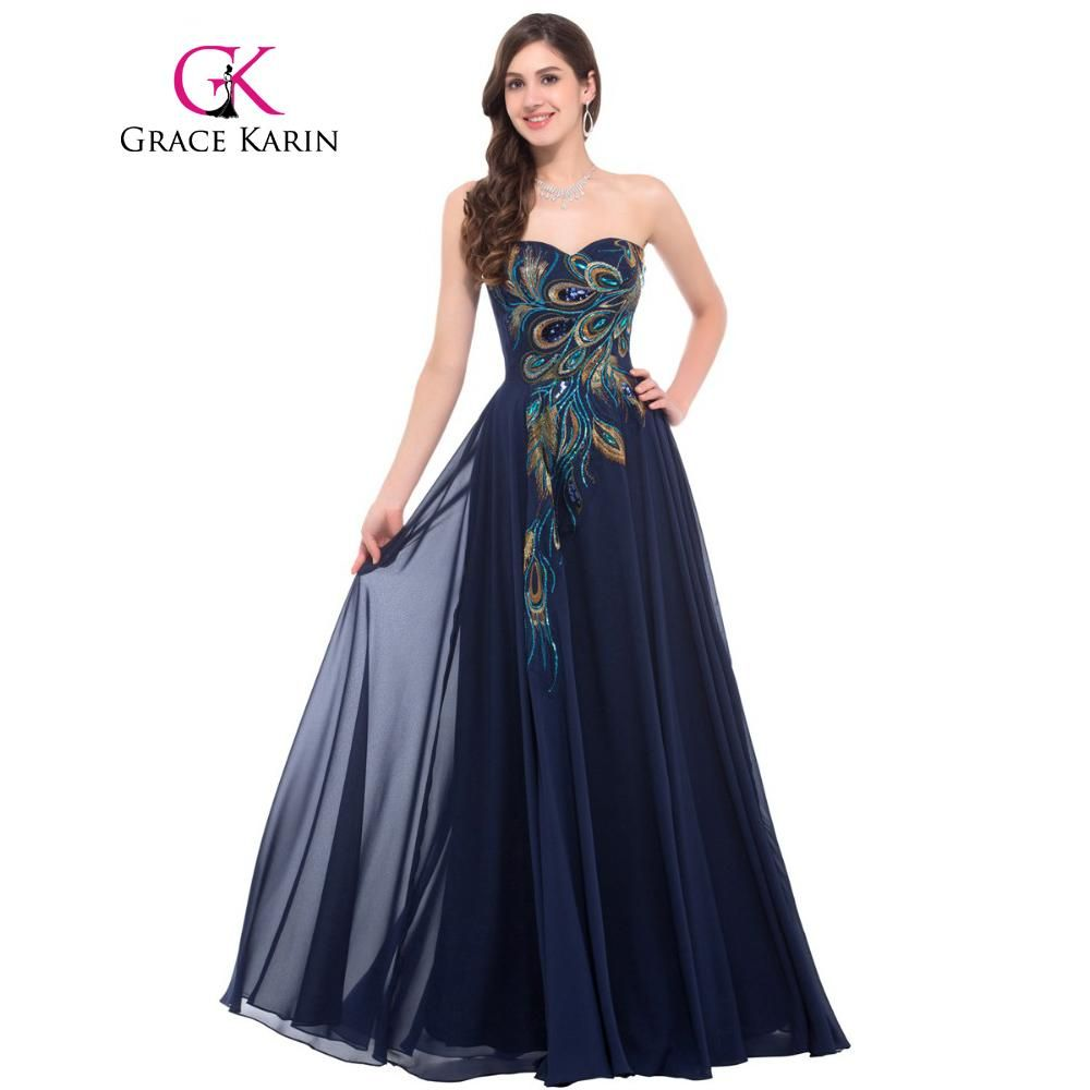 Grace Karin Strapless Peacock Evening Dress Long Chiffon Embroidery Formal  Evening Gowns Robe De Soiree Wedding Prom Dress 2018 ... 81fbb52d9106