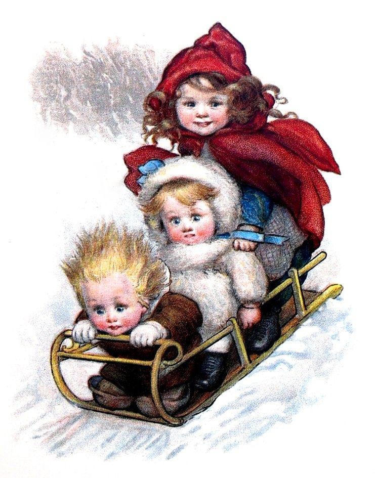 Зимняя старинная открытка