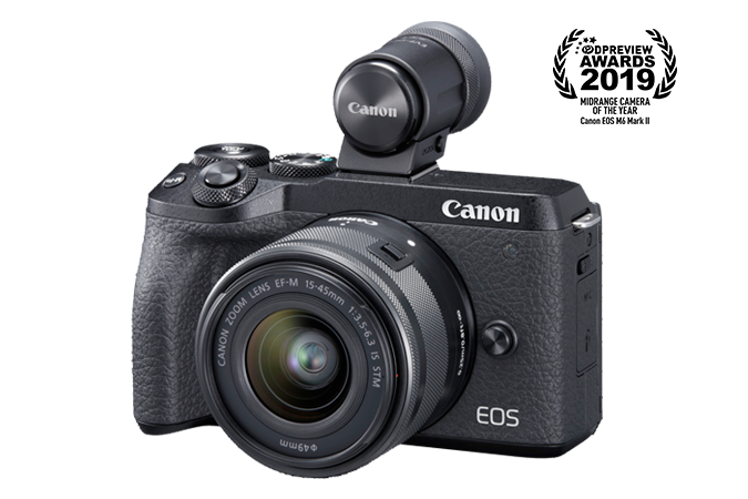 Eos M6 Mark Ii Ef M 15 45mm F 3 5 6 3 Is Stm Evf Kit Black Canon Online Store Canon Eos M6 Mark Ii Mirrorless Camera Compact Digital Camera