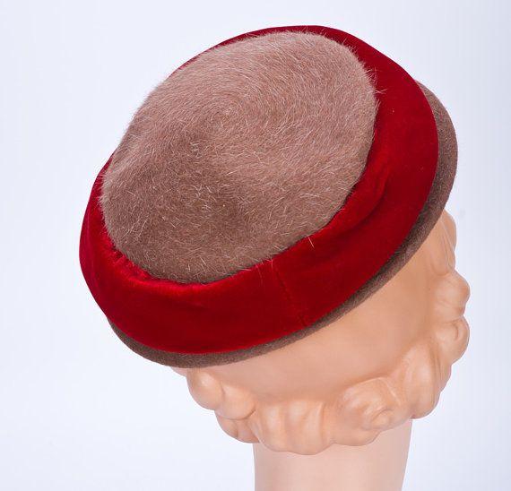 50s Womens Hat  Brown Mohair Red Velvet Cap by littlethingsvintage, $38.00