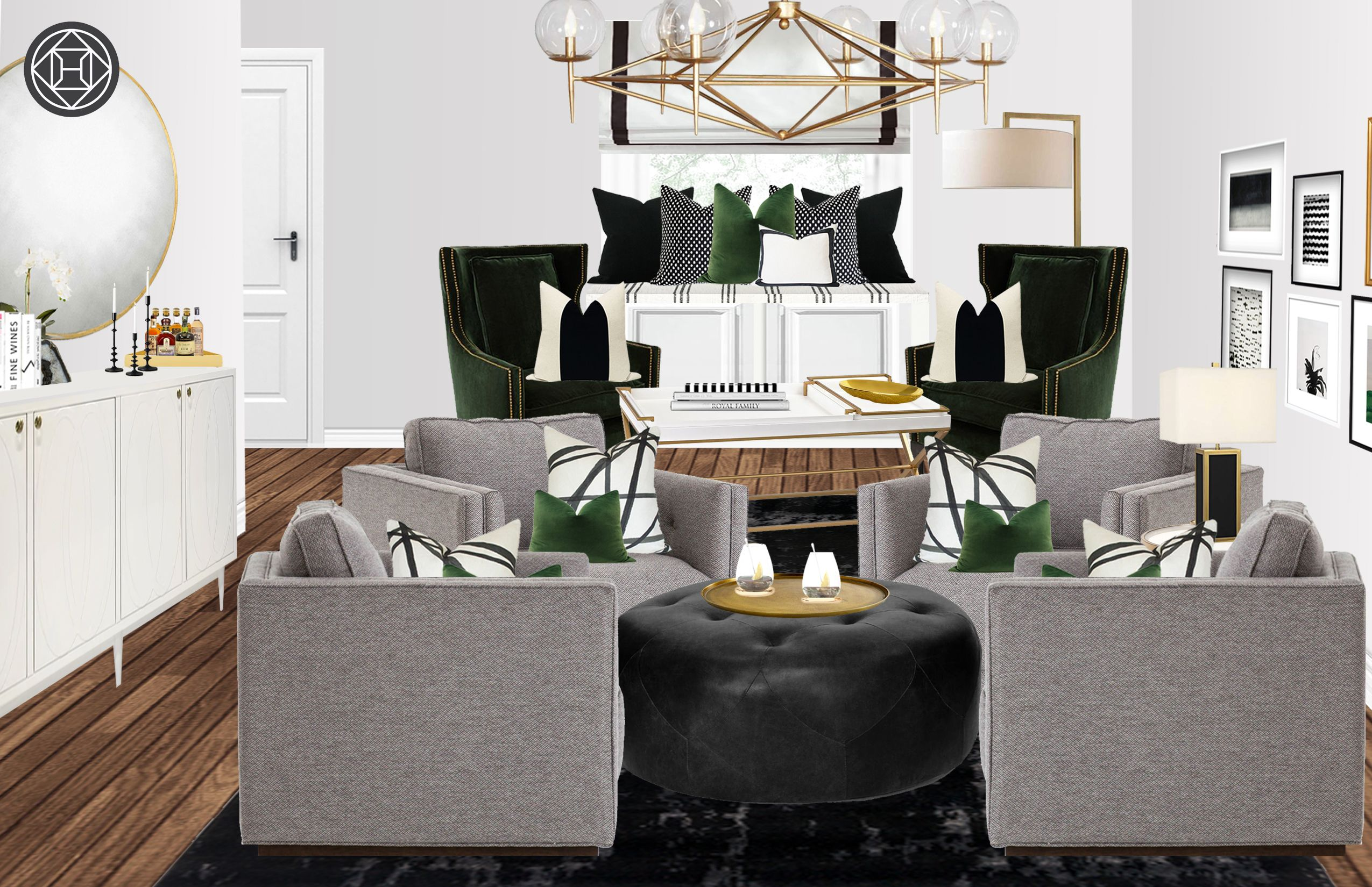 Contemporary Glam Transitional Living Room Design By Hav