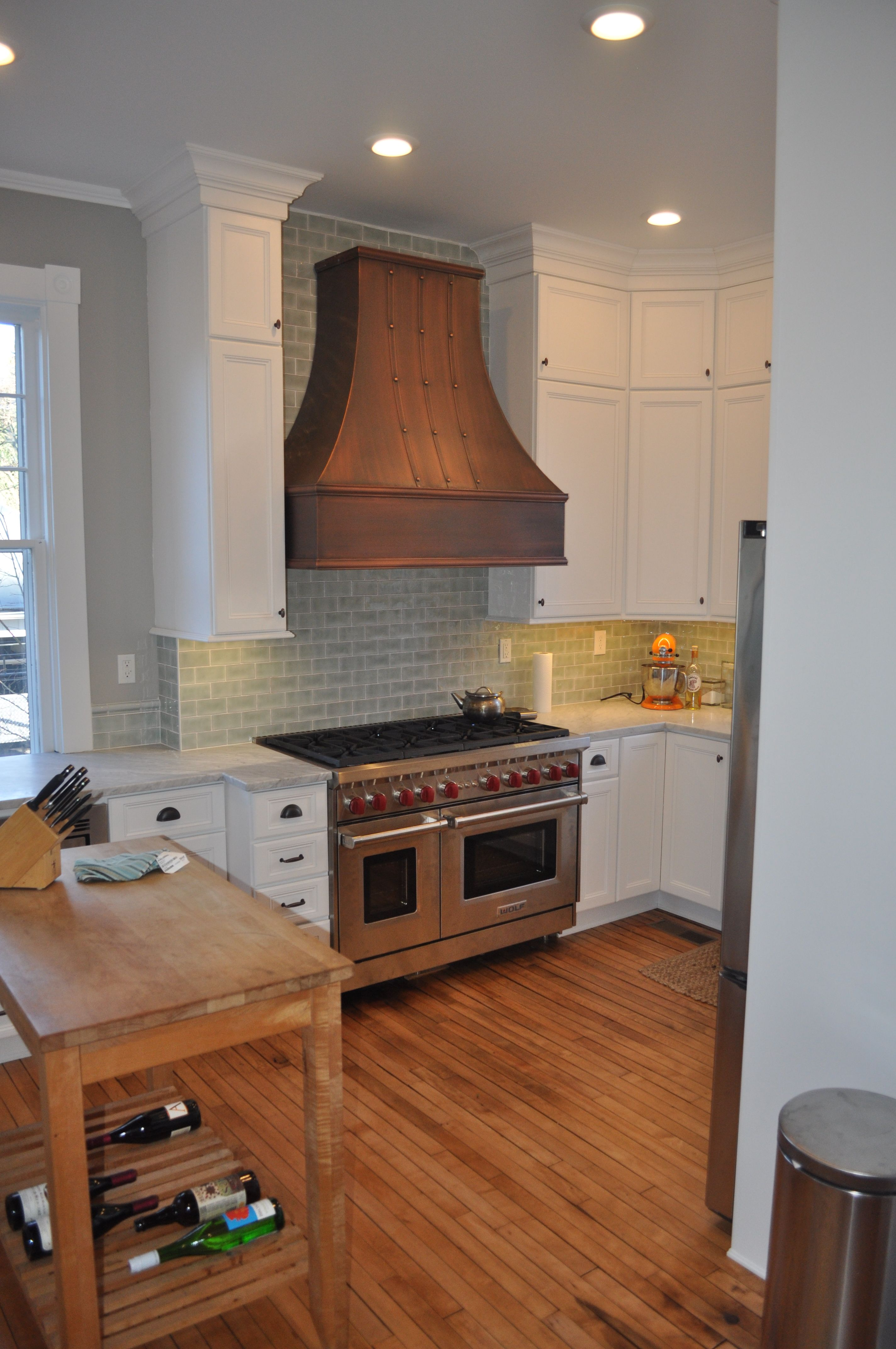ginter park kitchen white shaker cabinets copper vent hood mint green tile light wood on kitchen hutch id=11518