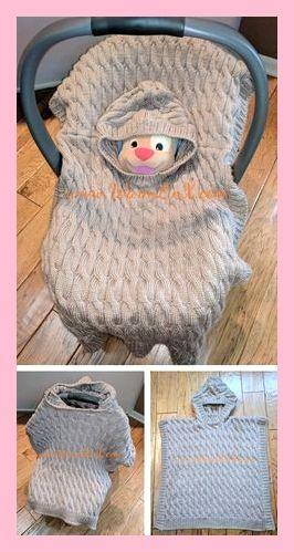 Gratis breipatroon voor baby Poncho deken - Little Mouse autostoel Poncho is een ...,  #autos... #babyponcho