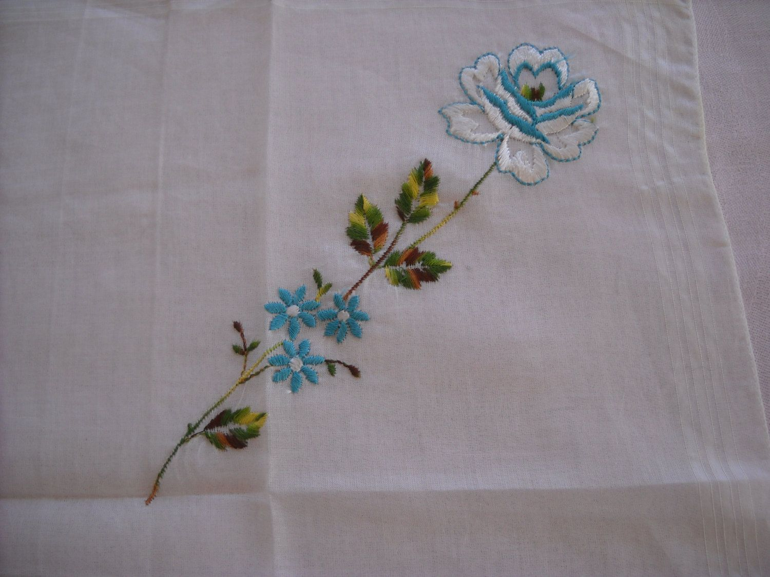 Vintage Handkerchief Teal Blue and White Floral Embroidery Made in Hong Kong NOS with Tag by LeapofFaithCraftVin on Etsy