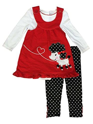 1259da186 Young Hearts Infant   Toddler Girls Poodle Baby Outfit Red Jumper ...