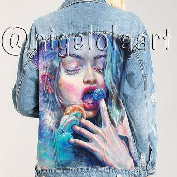 , Jeans Jacket Hand-painted Stars and Cosmos Planets Jean jacket Space Jacket Painted denim jacket Denim jacket Hand painted denim jacket, My Pop Star Kda Blog, My Pop Star Kda Blog