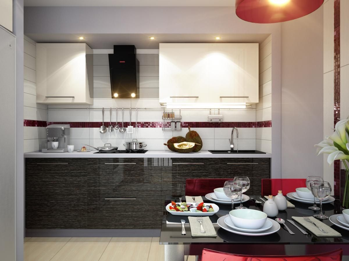 Red White Kitchen Black And White Kitchen With Red Accents House Decor