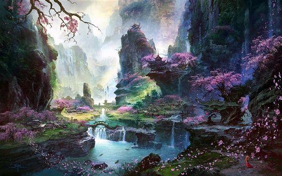 Peinture Monde Fantastique Des Paysages De Printemps D Orient Fond D Ecran Paysage Fantastique Paysage Manga Paysage Imaginaire