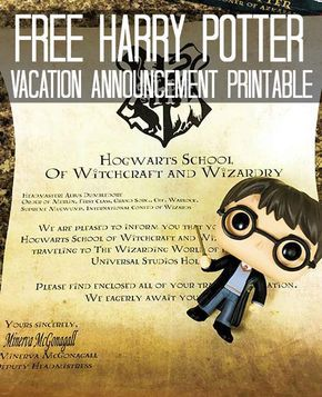 Free Harry Potter Vacation Announcement Printable Universal Studios Orlando Trip Harry Potter Universal Studios Universal Vacation