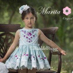2fe61b5a3 MARITA RIAL Vestido Vuelo Verde Agua Bordado Primavera-Verano 2017 ...