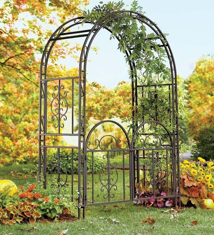 Charmant Large Garden Arbor Iron Patio Archway W/ Optional Gate Wedding Arch Trellis  7ft