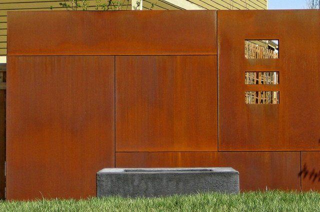 Cloture Pas Cher Bois Ville Haute Protection Castorama Acier Corten Cloture Jardin Paysagisme Moderne