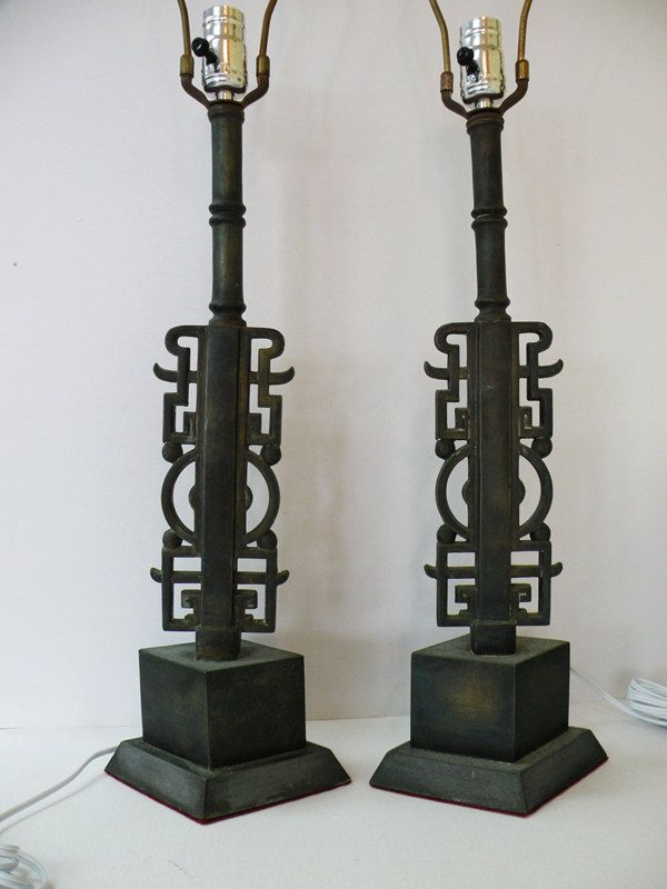 Pair of Heavy Cast Bronze Chinese Table Lamps Asian Decor