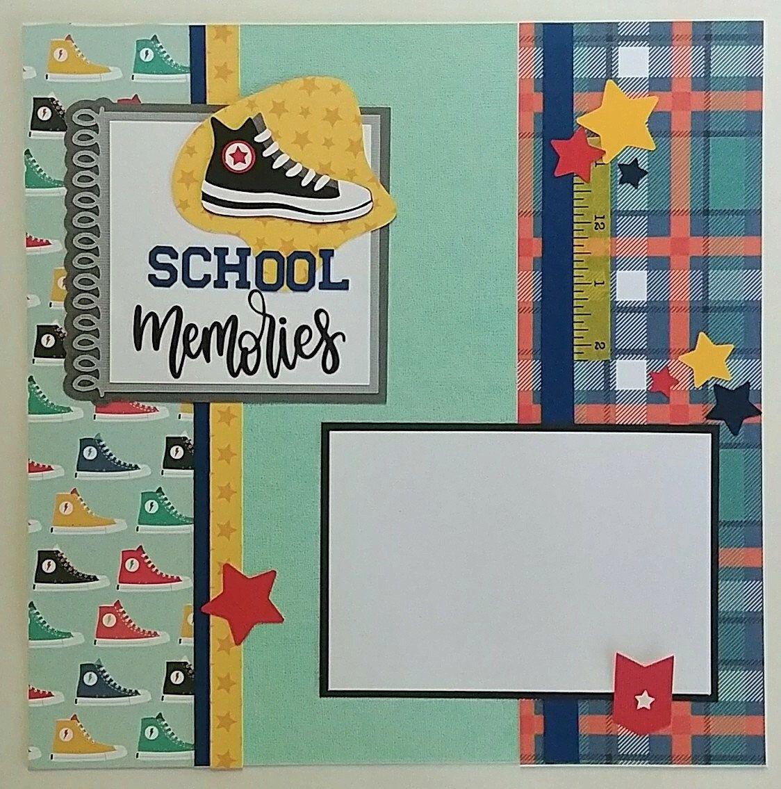 School scrapbook layout for boys  Back to School  School   Etsy