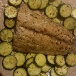 Dinner tonight: Grilled salmon and zucchini