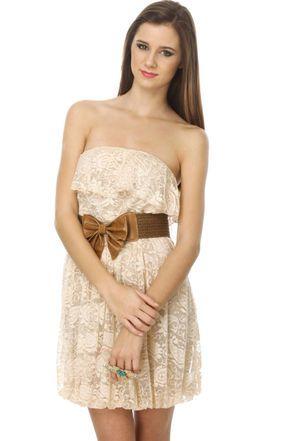 Dallas Dame Beige Lace Dress Elegancia Y Estilo